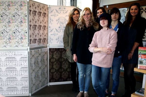 Students with their work