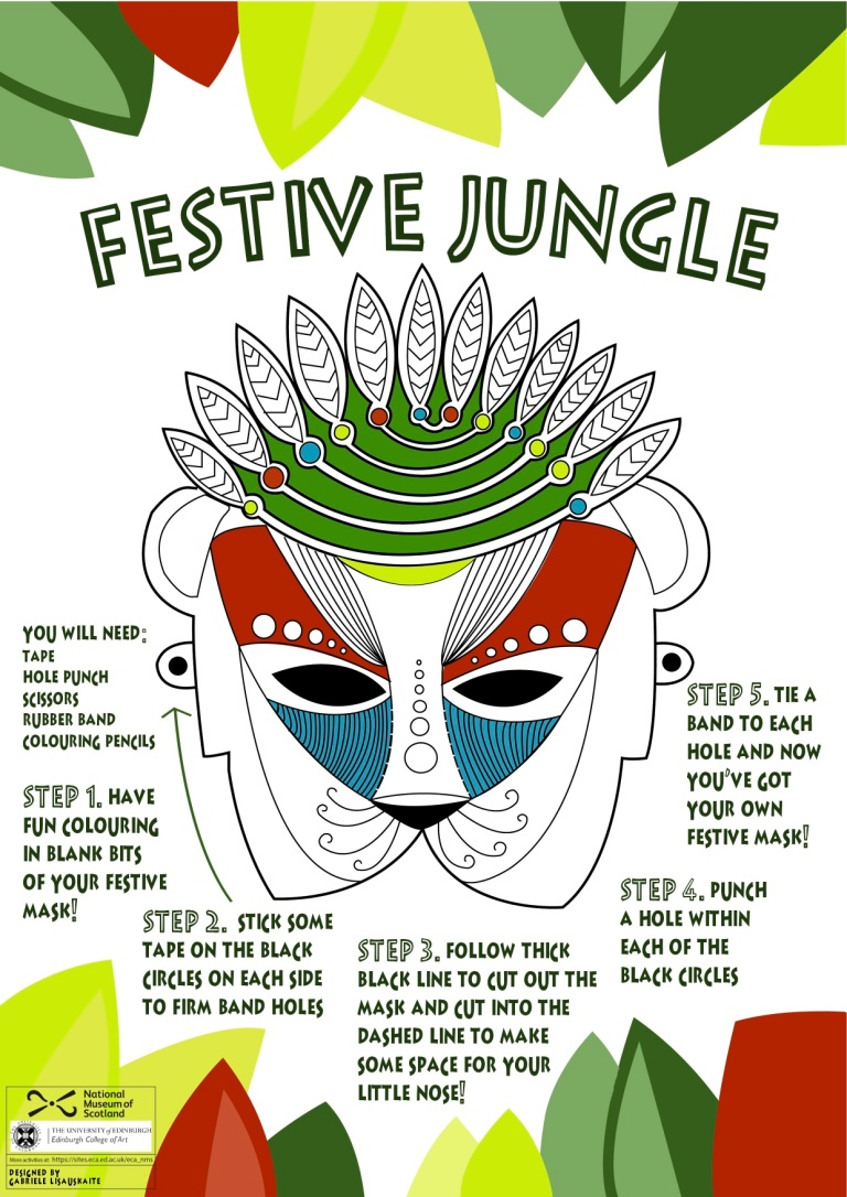 Make Your Own Festive Jungle Mask by Gabrielė Lisauskaitė