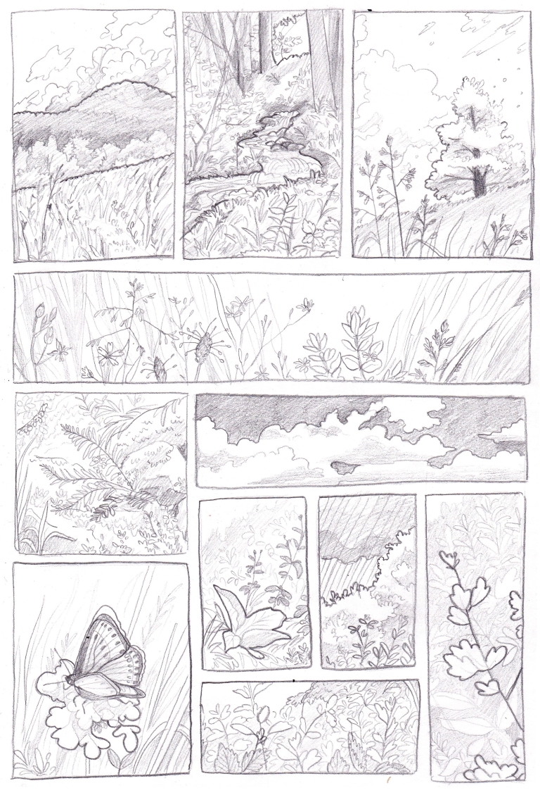 Comics meadow scenes